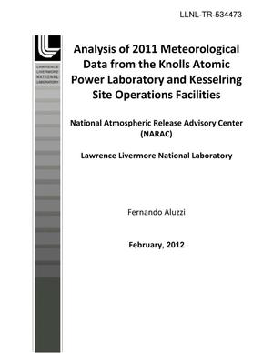 Primary view of object titled 'Analysis of 2011 Meteorological Data from the Knolls Atomic Power Laboratory and Kesselring Site Operations Facilities'.