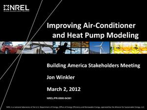 Primary view of object titled 'Improving Air-Conditioner and Heat Pump Modeling (Presentation)'.