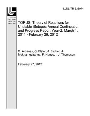 Primary view of object titled 'TORUS: Theory of Reactions for Unstable iSotopes Annual Continuation and Progress Report Year-2: March 1, 2011 - February 29, 2012'.