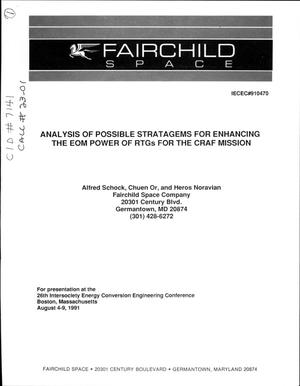Primary view of object titled 'Analysis of Possible Stratagems for Enhancing the EOM Power of RTGs for the CRAF Mission'.