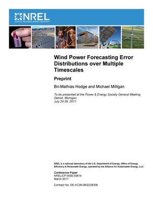 Primary view of object titled 'Wind Power Forecasting Error Distributions over Multiple Timescales: Preprint'.