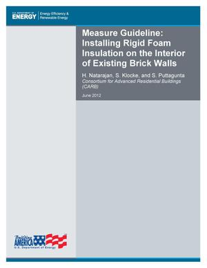 Primary view of object titled 'Measure Guideline: Installing Rigid Foam Insulation on the Interior of Existing Brick Walls'.
