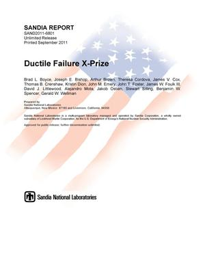 Primary view of object titled 'Ductile failure X-prize.'.