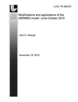 Primary view of object titled 'Modifications and Applications of the HERMES model: June - October 2010'.