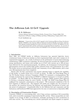 Primary view of object titled 'The Jefferson Lab 12 GeV Upgrade'.