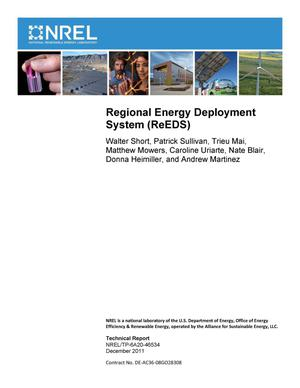 Primary view of object titled 'Regional Energy Deployment System (ReEDS)'.