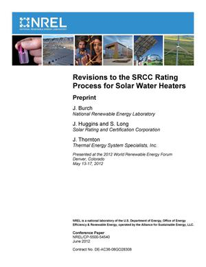 Primary view of object titled 'Revisions to the SRCC Rating Process for Solar Water Heaters: Preprint'.