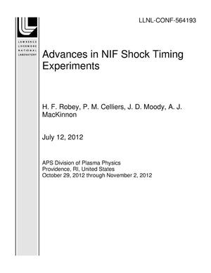 Primary view of object titled 'Advances in NIF Shock Timing Experiments'.