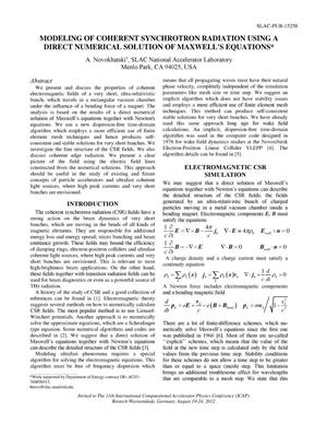 Primary view of object titled 'Modeling of Coherent Synchrotron Radiation using a Direct Numerical Solution of Maxwell's Equations'.