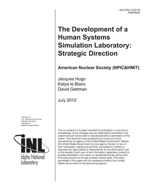 Primary view of object titled 'The Development of A Human Systems Simulation Laboratory: Strategic Direction'.