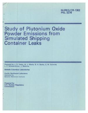 Primary view of object titled 'Study of Plutonium Oxide Powder Emissions from Simulated Shipping Container Leaks'.