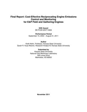 Primary view of object titled 'Cost-Effective Reciprocating Engine Emissions Control and Monitoring for E&P Field and Gathering Engines'.