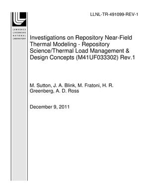 Primary view of object titled 'Investigations on Repository Near-Field Thermal Modeling - Repository Science/Thermal Load Management & Design Concepts (M41UF033302) Rev.1'.