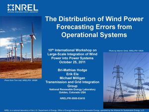 Primary view of object titled 'Distribution of Wind Power Forecasting Errors from Operational Systems (Presentation)'.