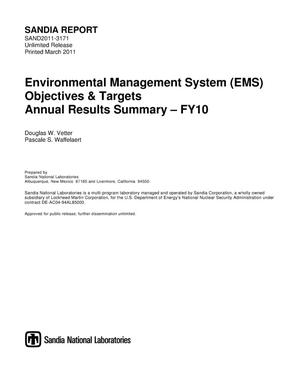 Primary view of object titled 'Environmental Management System (EMS) objectives & targets : annual results summary %3CU%2B2013%3E FY10.'.