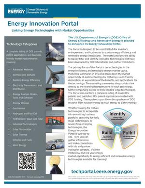 Primary view of object titled 'Energy Innovation Portal: Linking Energy Technologies with Market Opportunities (Revised) (Fact Sheet)'.