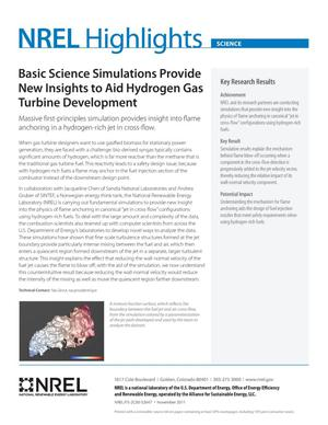 Primary view of object titled 'Basic Science Simulations Provide New Insights to Aid Hydrogen Gas Turbine Development (Fact Sheet), NREL Highlights, Science'.