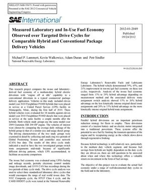 Primary view of object titled 'Measured Laboratory and In-Use Fuel Economy Observed over Targeted Drive Cycles for Comparable Hybrid and Conventional Package Delivery Vehicles'.