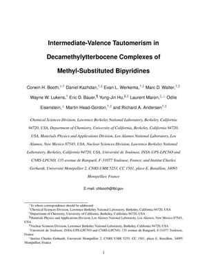 Primary view of object titled 'Intermediate-Valence Tautomerism in Decamethylytterbocene Complexes of Methyl-Substituted Bipyridines'.