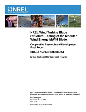 Primary view of object titled 'NREL Wind Turbine Blade Structural Testing of the Modular Wind Energy MW45 Blade: Cooperative Research and Development Final Report, CRADA Number CRD-09-354'.