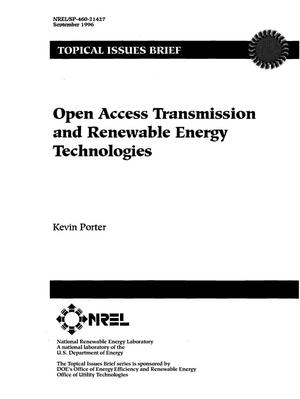 Primary view of object titled 'Open Access Transmission and Renewable Energy Technologies'.