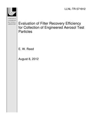 Primary view of object titled 'Evaluation of Filter Recovery Efficiency for Collection of Engineered Aerosol Test Particles'.