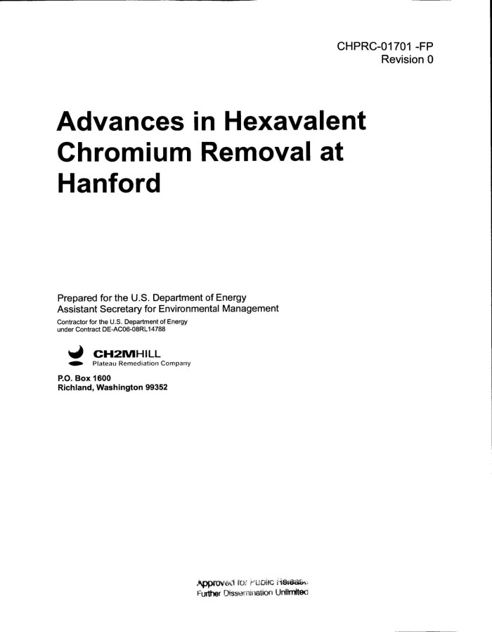 primary view of object titled advances in hexavalent chromium removal at hanford