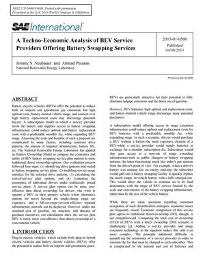 Primary view of object titled 'Techno-Economic Analysis of BEV Service Providers Offering Battery Swapping Services'.