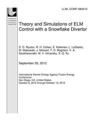 Primary view of object titled 'Theory and Simulations of ELM Control with a Snowflake Divertor'.