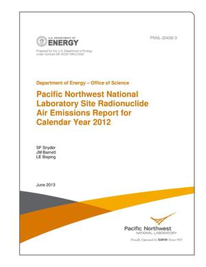 Primary view of object titled 'Pacific Northwest National Laboratory Site Radionuclide Air Emissions Report for Calendar Year 2012'.