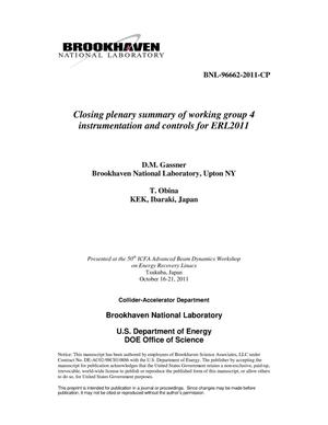 Primary view of object titled 'Closing plenary summary of working group 4 instrumentation and controls for ERL2011'.
