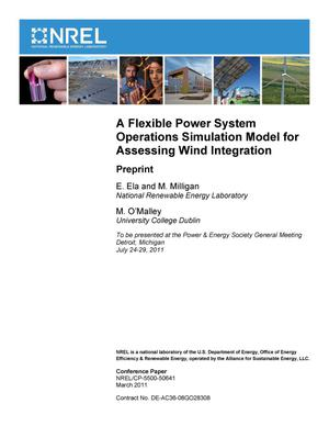 Primary view of object titled 'Flexible Power System Operations Simulation Model for Assessing Wind Integration: Preprint'.