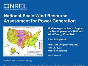 Primary view of object titled 'National-Scale Wind Resource Assessment for Power Generation (Presentation)'.