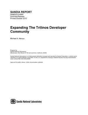 Primary view of object titled 'Expanding the Trilinos developer community.'.