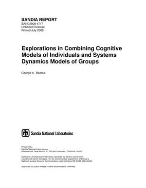 Primary view of object titled 'Explorations in combining cognitive models of individuals and system dynamics models of groups.'.