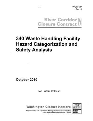 Primary view of object titled '340 Waste handling Facility Hazard Categorization and Safety Analysis'.