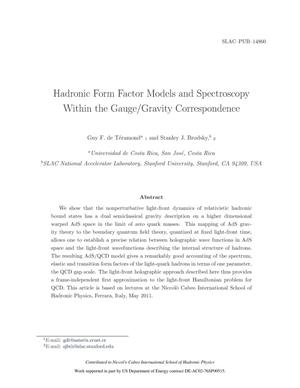 Primary view of object titled 'Hadronic form factor models and spectroscopy within the gauge/gravity correspondence'.