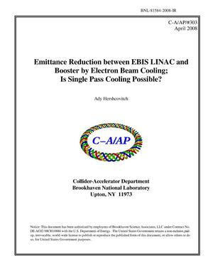 Primary view of object titled 'Emittance Reduction between EBIS LINAC and Booster by Electron Beam Cooling - Is Single Pass Cooling Possible?'.