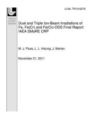Primary view of object titled 'Dual and Triple Ion-Beam Irradiations of Fe, Fe(Cr) and Fe(Cr)-ODS Final Report: IAEA SMoRE CRP'.