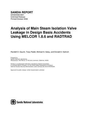 Primary view of object titled 'Analysis of main steam isolation valve leakage in design basis accidents using MELCOR 1.8.6 and RADTRAD.'.