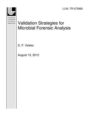 Primary view of object titled 'Validation Strategies for Microbial Forensic Analysis'.