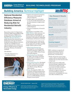 Primary view of object titled 'National Residential Efficiency Measures Database Aimed at Reducing Risk for Residential Retrofit Industry (Fact Sheet)'.
