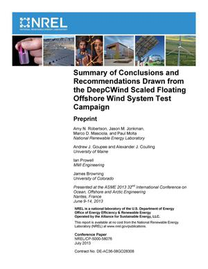 Primary view of object titled 'Summary of Conclusions and Recommendations Drawn from the DeepCWind Scaled Floating Offshore Wind System Test Campaign: Preprint'.