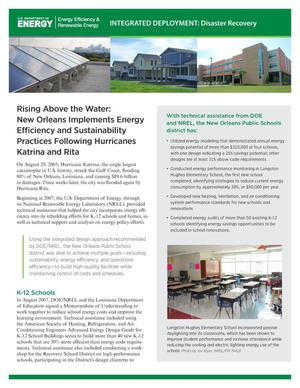 Primary view of object titled 'Rising Above the Water: New Orleans Implements Energy Efficiency and Sustainability Practices Following Hurricanes Katrina and Rita (Fact Sheet)'.