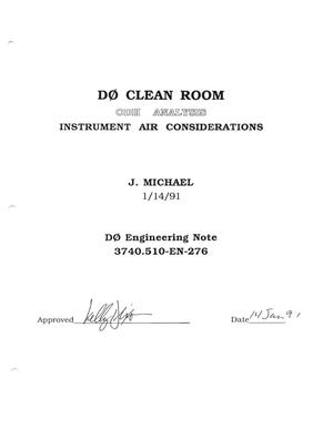 Primary view of object titled 'D0 Clean Room ODH Analysis Instrument Air Considerations'.