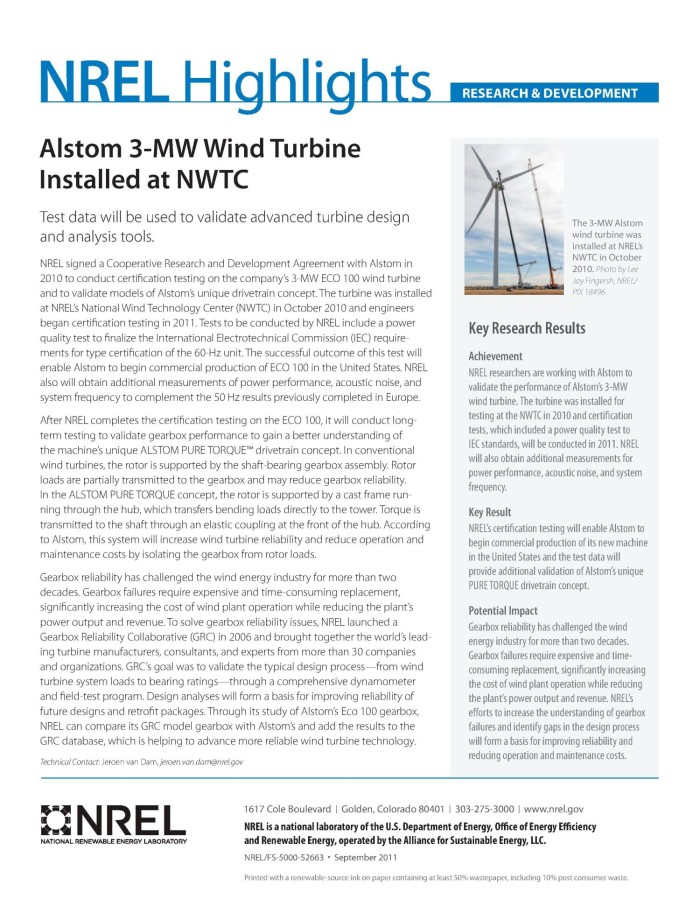 Alstom 3-MW Wind Turbine Installed at NWTC (Fact Sheet