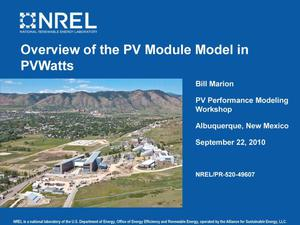 Primary view of object titled 'Overview of the PV Module Model in PVWatts (Presentation)'.