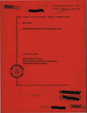 Primary view of object titled 'M.I.T. Metallurgical Project, Progress Report for January 1954'.