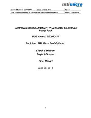 Primary view of object titled 'Commercialization Effort for 1W Consumer Electronics Power Pack'.