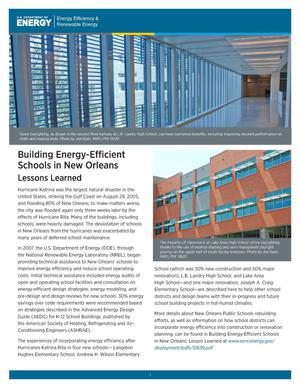 Primary view of object titled 'Building Energy-Efficient Schools in New Orleans: Lessons Learned (Brochure)'.